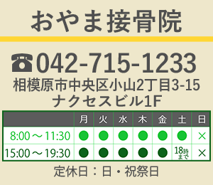 おやま接骨院はJR横浜線相模原駅からお越しください。ご予約は042-715-1233